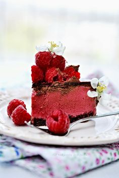 Tart, creamy, rich, and light as air Raspberry and Chocolate cake recipe.