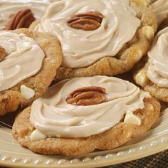 These pretty Frosted Maple Pecan White Chip Cookies are flavored with maple and vanilla morsels and topped with a simple maple frosting. Easy to make, yet elegant enough for special guests. Maple Cookies, White Chocolate Chip Cookies, Pecan Cookies, Drop Cookies, Blondies Cookies, Chocolate Tarts, Pecan Pies, Decadent Chocolate, Sugar Cookies