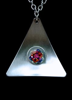 70s Space age  Stainless Steel Prism Pendant