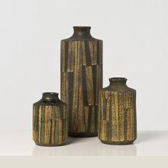 Aldo Londi; Glazed Ceramic 'Milano Moderna' Vases by Bitossi for Raymor, 1950s.