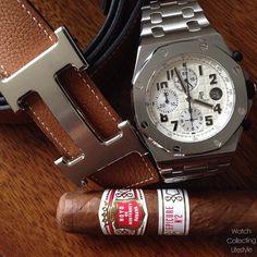 Ready for a good Cuban cigar. Hoyo de Monterrey Epicure No. 2 alongside the Hermès Constance H Belt and the @Audemars Piguet Royal Oak Offshore Safari on bracelet. #audemarsholics #audemars #audemarspiguet #royaloakoffshore #hbelt #hermes #hermesbelt #pur