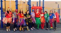 Do you need some ideas for your school Halloween costume? Teachers from all over share their practical & appropriate team Halloween costume ideas! Work Appropriate Halloween Costumes, Diy Superhero Costume, Superhero Costumes Female, Superhero Halloween Costumes, Teacher Costumes, Halloween Ideas, Group Costumes, Women Super Hero Costumes, Halloween Customs
