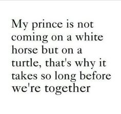 My prince is coming on a turtle ....