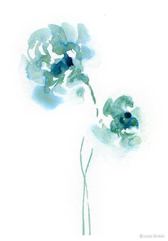 Green Day abstract turquoise green floral nature watercolor