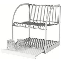 IKEA - BESTÅENDE, Dish drainer, The dish drainer can be made larger by pulling out the tray, so you can fit a lot of dishes on a small area.The removable tray collects water from the dish drainer.Holds large plates with a dia. up to 32 cm as well. Plate Storage, Diy Storage, Storage Rack, Wall Mounted Dish Rack, Ikea Shopping, Cocinas Kitchen, Dish Drainers, Smart Tiles, Dish Racks
