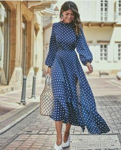 54 Winter Dresses To Inspire Daily Fashion Outfits Maxi Dress With Slit, Dot Dress, Dress Skirt, Dress Up, Shirt Dress, Dress Outfits, Casual Dresses, Summer Dresses, Maxi Dresses