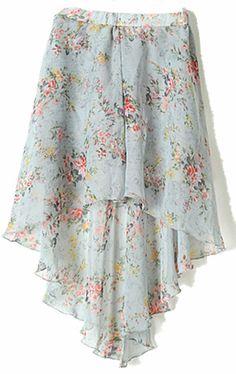 Grey Small Floral Print Dipped Hem Elastic Waist Skirt #floral #skirt #SheInside
