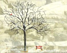"""Kit Lang, """"Red Bench No.1"""", 8 x 10 inches, mounted on a commercial canvas. $100"""
