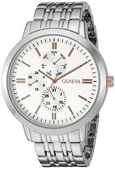Geneva Mens GV5001SVTT MultiFunction Dial SilverTone Bracelet Watch ** Click image to review more details.