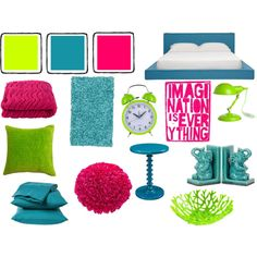 """""""Hot Pink, Neon Green, And Teal Bedroom"""" by pet387 on Polyvore"""