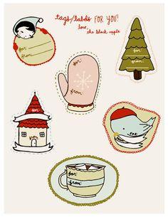 Super cute holiday and Christmas printable gift tags