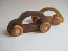 Organic Toy Car Set of 2 - Made of Walnut and Cherry woods on Etsy, $14.00
