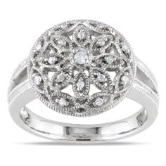 Round white diamond ringSterling silver jewelryClick here for ring sizing guide