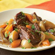 BEER-BRAISED BEEF WITH ONION, CARROT, AND TURNIPS   Healthy Living