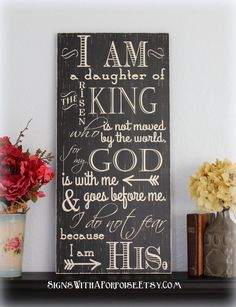 I Am His sign, Hand Painted Chalkboard Style Sign Distressed Wood, Typography Wo. Chalkboard Signs, Chalkboard Ideas, Chalkboards, Diy Gifts Just Because, Christian Signs, Mary And Martha, How To Distress Wood, Wall Signs, Word Art