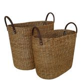 Newspaper/magazine/blanket storage - Water Hyacinth 2 Piece Basket Set with Faux Leather Handles. At Wayfair. Water Hyacinth, Bathroom Accessories Sets, Basket Decoration, Storage Containers, Joss And Main, Amazing Bathrooms, Leather Handle, Decorative Items, Decorative Baskets