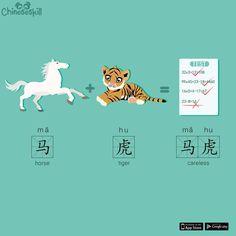 """Anyone wants to explain why horse+tiger means """"careless""""(mǎ hu) in Chinese? Any guesses? (大家猜猜看 dà jiā cāi cāi kàn) #chinese #chineselanguage #learnchinese #chinesecharacter #learnchinese #chineseskill #learningchinese #china #travel #traveltochina #beijing #visitchina #careless #learnmandarin #mandarin #汉语 #学中文 #普通话"""