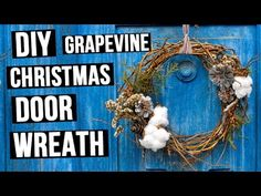How to make grapevine Christmas wreath with natural materials - easy DIY 3 mins tutorial. #PineconeWreath #FrontDoor #ChristmasWreath