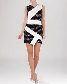Bcbgmaxazria Dress - Dalia Lace Asymmetric Hem