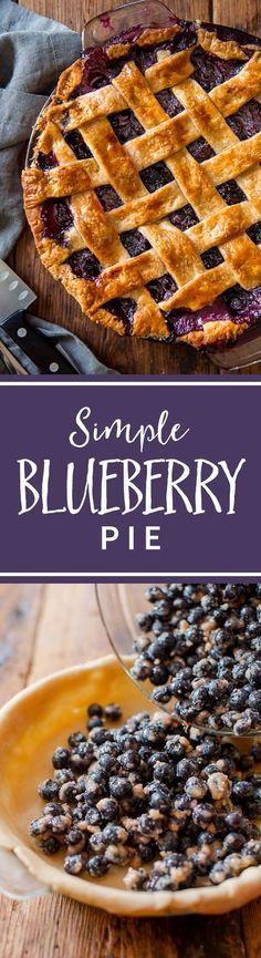 How to make blueberry pie from scratch! The BEST blueberry pie. Homemade blueberry filling and pie crust recipe on sallysbakingaddiction.com
