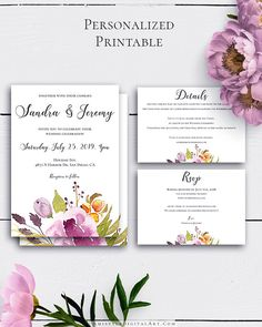 Personalized Boho Wedding Set with elegant and fascinating watercolor floral graphics for the lovers of the bohemian style.Build your suite - choose your card combination by Amistyle Digital Art on Etsy
