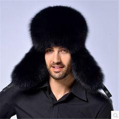 (39.02$)  Watch now  - Russian Men's Real Fox Fur Hats Package Winter Warm Fox Fur Hat Men genuine Sheepskin Top Hat Crown Fox Middle-aged Lei Feng Cap