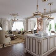 На фото – дизайн гостиной в стиле ар-деко в белых тонах вид второй