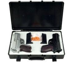 Airsoft Pistol Spring Air 200fps BBs P618SB Dual Pistol Case Black Silver 2Pcs #AirsoftPistol