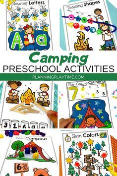 Camping themed Math & Literacy activities for Preschool.