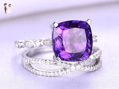 2 Solid 14k White Gold Engagement Rings Set,8mm Cushion Cut Natural Purple Amethyst Crystal Square Prong Vintage Antique Propose Ring,Half Eternity Loop Curved Diamonds Promise Matching Band - Wedding favors (*Amazon Partner-Link)