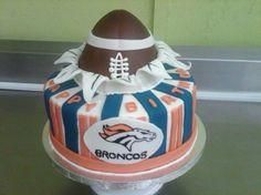 Bronco cup cakes   ... Broncos Cake - Cake with American football ball for Denver Broncos