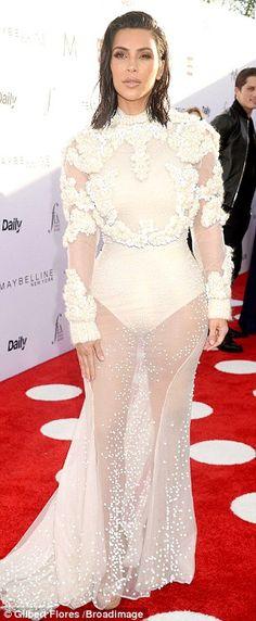 Kim Kardashian stuns in see-through gown at Fashion Los Angeles Awards #dailymail