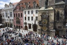 Photograph-Crowds of tourists in front of Town Hall Clock, Astronomical clock, Old Town Square-Photograph printed in the USA Heart Of Europe, Old Town Square, Square Photos, Town Hall, Heritage Site, Poster Size Prints, Photo Mugs, Prague Czech, Crowd