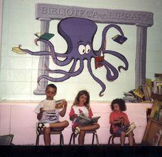 "Octopus Librarian   60"" x 72""    Location: De Lacey School, Carpentersville, IL"