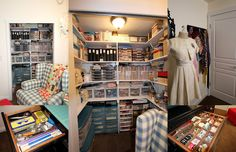This room is organized like I would like my sewing room to be.  Awesome!