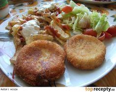 Bezva smažený sýr Czech Recipes, Ethnic Recipes, Baked Potato, Muffin, Potatoes, Snacks, Chicken, Meat, Baking