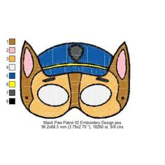 Mask Paw Patrol 02 Embroidery Design