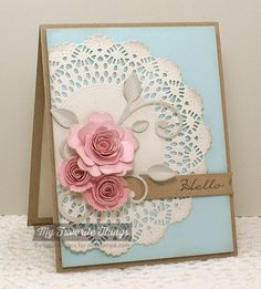 Image result for handmade christmas cards using doilies