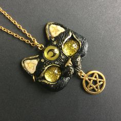 Witch Familiar Magic Black Cat With Pentagram Star OOAK Polymer Clay Pendant by FleurDeLapin on Etsy