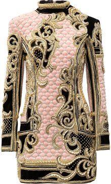 Balmain Embellished quilted velvet mini dress sur shopstyle.fr