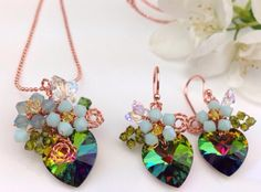Peacock jewellery set.Green crystal jewelry.Floral от PastelGems