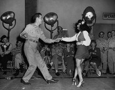 Lindy hopping with a soldier c.1940's