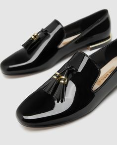 Image 6 of FAUX PATENT LEATHER TASSEL LOAFERS from Zara Loafer Shoes, Loafers Men, Shoes For College, Tuxedo Shoes, Best Shoes For Men, Minimalist Shoes, Leather Moccasins, Tassel Loafers, Sandals