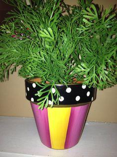 Painted pots // whimsical painted planter // terra cotta planter hand painted home decor - garden pot design Paint Garden Pots, Painted Plant Pots, Painted Flower Pots, Herb Planters, Herb Pots, Outdoor Planters, Succulent Pots, Decoupage, Decorated Flower Pots