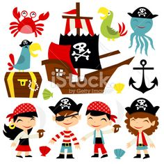Retro Pirate Adventure Set Illustration  -   A cartoon vector illustration of retro pirate adventure theme set. Included in this set:- boy pirate, girl pirate, pirate ship, parrots, treasure chest, octopus and crab....