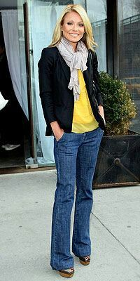 jeans pants; black blazer; yellow blouse; gray scarf