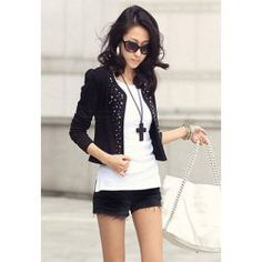 $6.16 Stylish Long Sleeve Solid Color Studded Embellished Jacket For Women