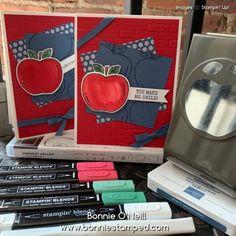 Teacher Cards, Wink Of Stella, Quick Cards, Embossing Folder, Recipe Cards, Ink Color, Simple Designs, Back To School, Harvest