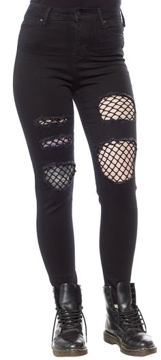 Get the layered look without all the added bulk! These ankle skimming, high waisted skinny jeans have a button and zipper closure, and pockets on the front and back. Faux rips let the fishnet panels show through. Pair with a classic black leather jacke Punk Fashion, Fashion Wear, Lolita Fashion, Fashion Dresses, Emo Outfits, Cute Outfits, Grunge Outfits, Punk Mode, Moda Emo