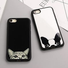 Luxury Simple Cat dog Figure Cases For Iphone 8 8plus 6s Black white Case  For iPhone 9b3a4ce57cd